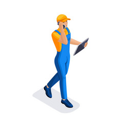 Isometric man calls up the time of delivery of the vector