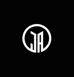 ja monogram logo isolated with a rotating circle vector image