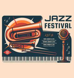 jazz festival live music performance retro banner vector image