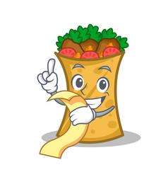 Kebab wrap character cartoon with menu vector