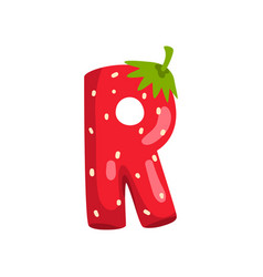 Letter r english alphabet made from ripe fresh vector