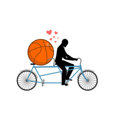 Lover basketball guy and ball on tandem lovers of vector