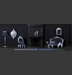 luxury black hall with silver moldings vector image