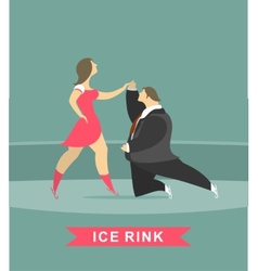 Man and woman dancing on ice vector