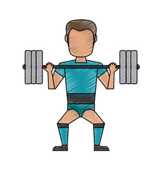 man lifting weights avatar cartoon vector image