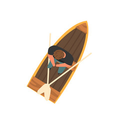 man sitting in wooden boat top view vector image