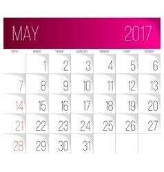 May 2017 calendar template vector image