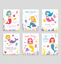 mermaid invite cards birthday poster kids party vector image