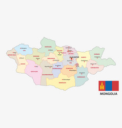 Mongolia administrative and political map with fla vector