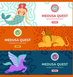 mythical creature banners vector image