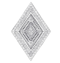 Original drawing ethnic tribal doddle rhombus 4 vector image