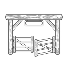 Paddock gate icon in outline style isolated on vector