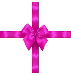 pink realistic bow with ribbons vector image