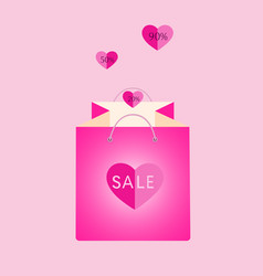 pink shopping bag with flying hearts vector image