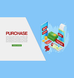 Purchase purchases over internet flat isometric vector