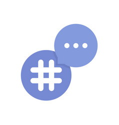Purple hashtag logo with bubble vector