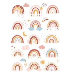 rainbow in cartoon boho scandinavian vector image