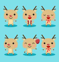 reindeer cute characters set vector image