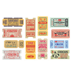 retro tickets to big top circus show set vector image