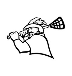 Robin hood or green archer with lacrosse stick vector