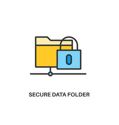 Secure data folder icon vector