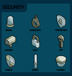 security color outline isometric icons vector image