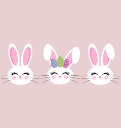 set easter bunny face rabbit character vector image