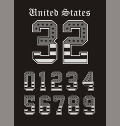 set number texture usa black white vector image