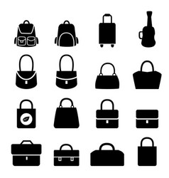 set of bag icons in silhouette style vector image