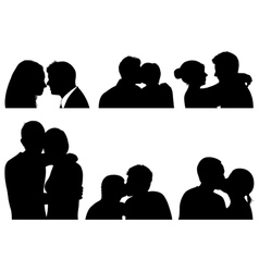 Set of couple in different positions vector image