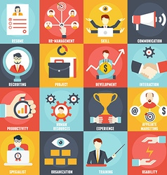Set of Human Resources Management icons vector image