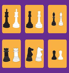 Set of icons with chessmen vector