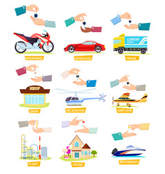 Set of icons with selling buying cars houses vector