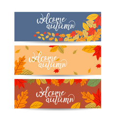 set three banners with colorful autumn leaves vector image