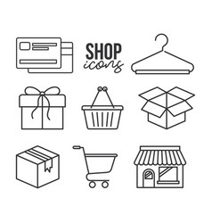 Shop icons credit card shopping basket gift box vector