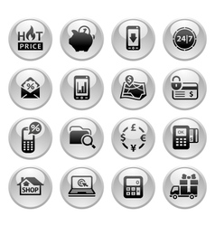 Shopping Icons Gray round buttons new vector