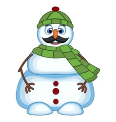 Snowman with mustache wearing green head cover and vector image