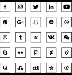 social media black square icons set vector image