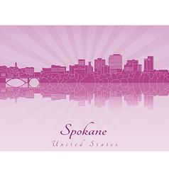 Spokane skyline in purple radiant orchid vector