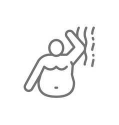 stink a fat man bad smell obesity line icon vector image