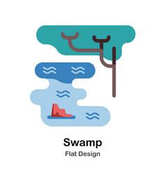 Swamp flat icon vector