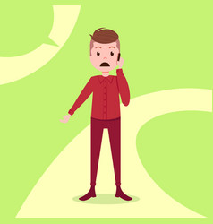 Teen boy character sad phone call male red suit vector