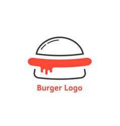 thin line burger logo with red sauce vector image