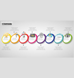 Timeline infographics design template with 8 vector