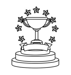 trophy cup with stars black and white black and vector image