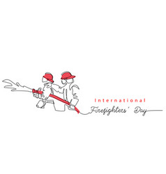 two fireman with hose in red helmets lettering vector image