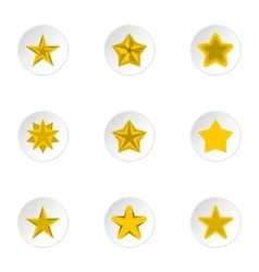 Types of stars icons set flat style vector