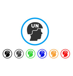 United nations soldier helmet rounded icon vector