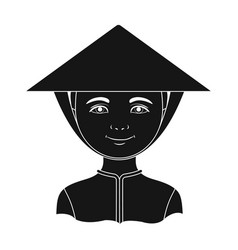 vietnamesehuman race single icon in black style vector image