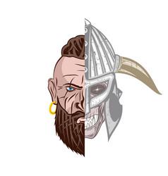 viking skull 0002 vector image